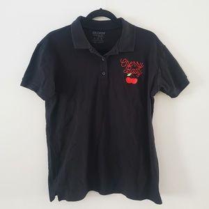 Women's Black Embroidered Cherry Baby Golf Shirt